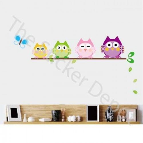 Branch with 4 Owls Wall Sticker