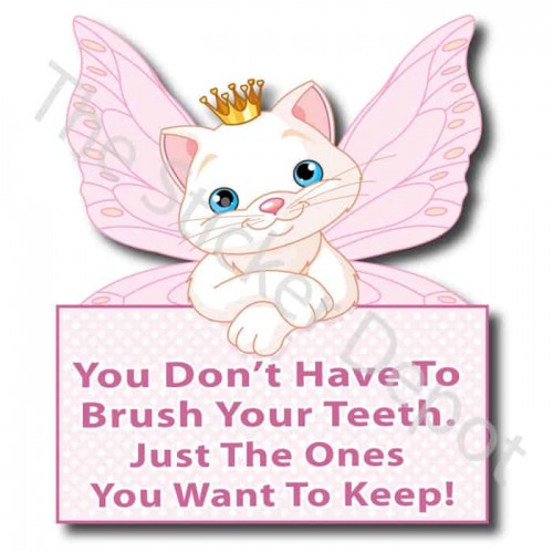 Cat Fairy Brush Your Teeth Reminder Sticker