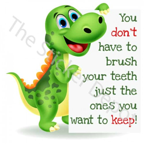 Dinosaur Brush Your Teeth Reminder Sticker