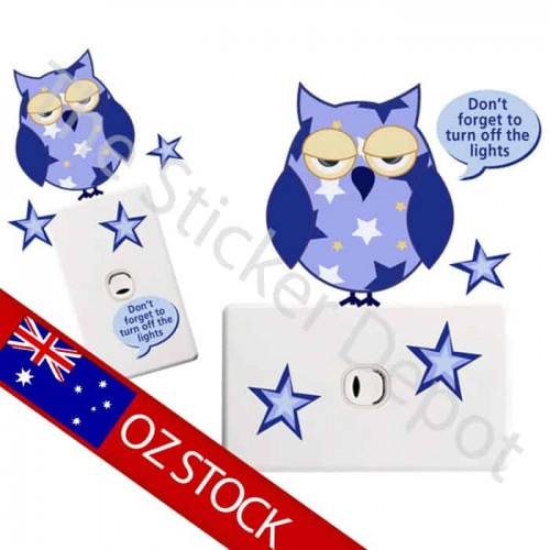 Owl Turn Off the Light Reminder Sticker
