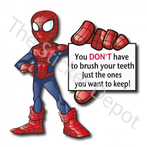 Spiderman Brush Your Teeth Reminder Sticker