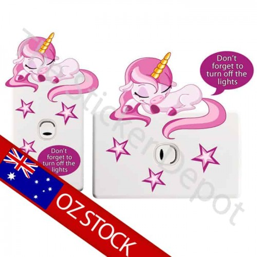 Unicorn Turn Off the Light Reminder Sticker