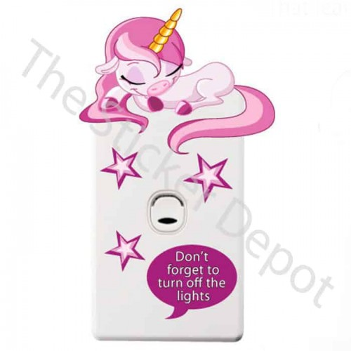 Unicorn Turn Off the Lights Reminder Sticker
